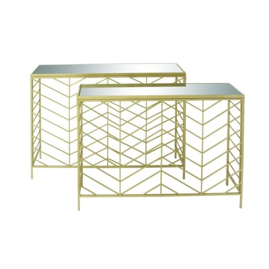 Bend Glass Console Table 2 Piece Set