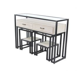 Whitman Metal Glass Console 3 Piece Set