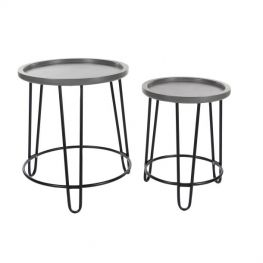 Karen Metal Wood Accent Table Set