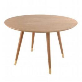 Bradshaw Round Walnut Table with Gold Tips